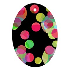 Colorful Decorative Circles Ornament (oval)  by Valentinaart