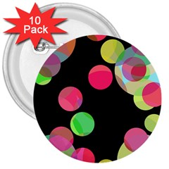 Colorful Decorative Circles 3  Buttons (10 Pack)  by Valentinaart