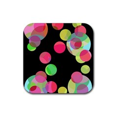 Colorful Decorative Circles Rubber Coaster (square)  by Valentinaart