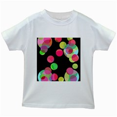 Colorful Decorative Circles Kids White T Shirts by Valentinaart