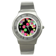 Colorful Decorative Circles Stainless Steel Watch by Valentinaart