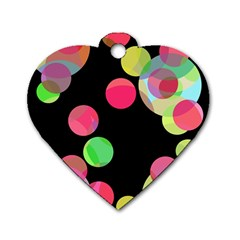 Colorful Decorative Circles Dog Tag Heart (one Side) by Valentinaart