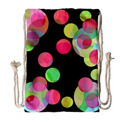 Colorful Decorative Circles Drawstring Bag (large) by Valentinaart
