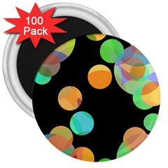 Orange Circles 3  Magnets (100 Pack) by Valentinaart