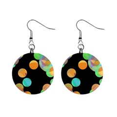 Orange Circles Mini Button Earrings by Valentinaart
