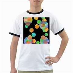 Orange Circles Ringer T-shirts by Valentinaart