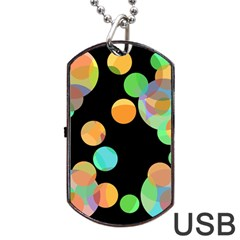 Orange Circles Dog Tag Usb Flash (two Sides)  by Valentinaart