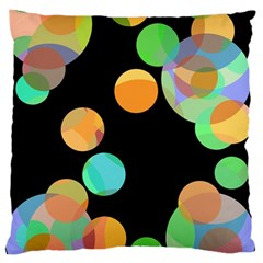 Orange Circles Large Cushion Case (two Sides) by Valentinaart