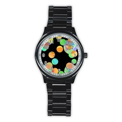 Orange Circles Stainless Steel Round Watch by Valentinaart