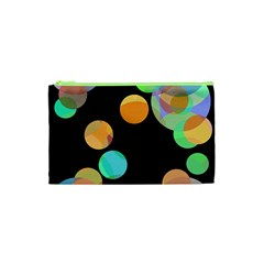 Orange Circles Cosmetic Bag (xs) by Valentinaart