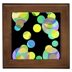 Yellow Circles Framed Tiles by Valentinaart
