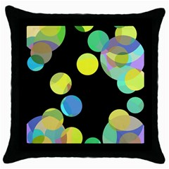 Yellow Circles Throw Pillow Case (black) by Valentinaart