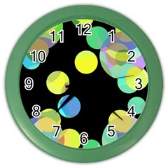 Yellow Circles Color Wall Clocks by Valentinaart