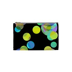 Yellow Circles Cosmetic Bag (small)  by Valentinaart