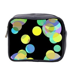 Yellow Circles Mini Toiletries Bag 2 Side by Valentinaart