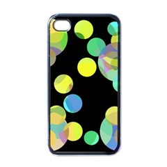 Yellow Circles Apple Iphone 4 Case (black) by Valentinaart