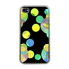 Yellow Circles Apple Iphone 4 Case (clear) by Valentinaart