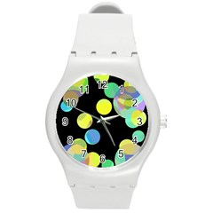 Yellow Circles Round Plastic Sport Watch (m) by Valentinaart