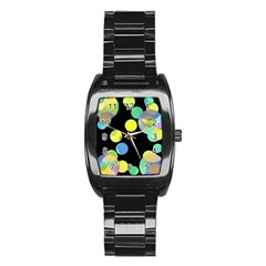 Yellow Circles Stainless Steel Barrel Watch by Valentinaart