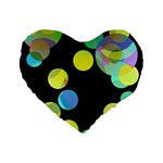 Yellow circles Standard 16  Premium Flano Heart Shape Cushions Front