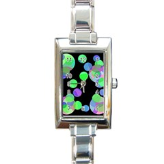 Green Decorative Circles Rectangle Italian Charm Watch by Valentinaart