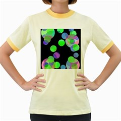 Green Decorative Circles Women s Fitted Ringer T Shirts by Valentinaart