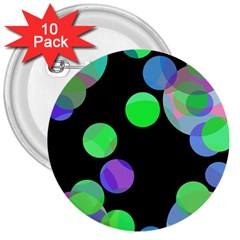 Green Decorative Circles 3  Buttons (10 Pack)  by Valentinaart