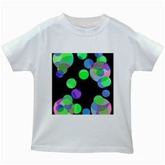 Green Decorative Circles Kids White T Shirts by Valentinaart