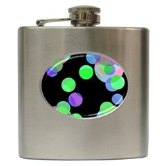 Green Decorative Circles Hip Flask (6 Oz) by Valentinaart