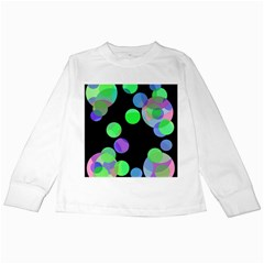 Green Decorative Circles Kids Long Sleeve T Shirts by Valentinaart
