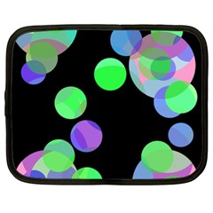 Green Decorative Circles Netbook Case (xl)  by Valentinaart