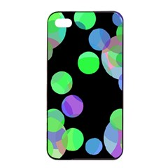 Green Decorative Circles Apple Iphone 4/4s Seamless Case (black) by Valentinaart