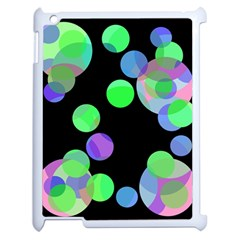 Green Decorative Circles Apple Ipad 2 Case (white) by Valentinaart
