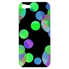 Green Decorative Circles Apple Iphone 5 Hardshell Case by Valentinaart