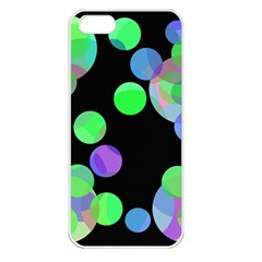 Green Decorative Circles Apple Iphone 5 Seamless Case (white) by Valentinaart