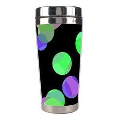 Green Decorative Circles Stainless Steel Travel Tumblers by Valentinaart