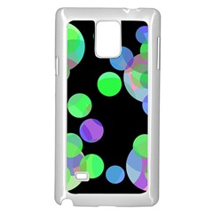 Green Decorative Circles Samsung Galaxy Note 4 Case (white) by Valentinaart