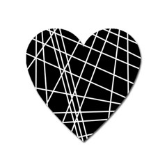 Black And White Simple Design Heart Magnet by Valentinaart