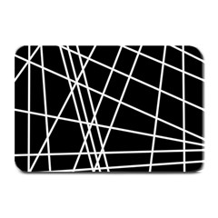 Black And White Simple Design Plate Mats by Valentinaart