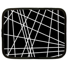 Black And White Simple Design Netbook Case (xl)  by Valentinaart
