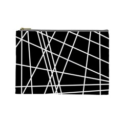 Black And White Simple Design Cosmetic Bag (large)  by Valentinaart