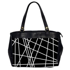 Black And White Simple Design Office Handbags (2 Sides)  by Valentinaart