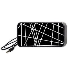 Black And White Simple Design Portable Speaker (black)  by Valentinaart