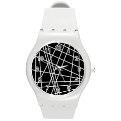 Black And White Simple Design Round Plastic Sport Watch (m) by Valentinaart
