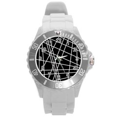 Black And White Simple Design Round Plastic Sport Watch (l) by Valentinaart
