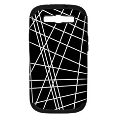 Black And White Simple Design Samsung Galaxy S Iii Hardshell Case (pc+silicone) by Valentinaart