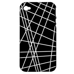 Black And White Simple Design Apple Iphone 4/4s Hardshell Case (pc+silicone) by Valentinaart
