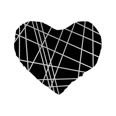 Black And White Simple Design Standard 16  Premium Heart Shape Cushions by Valentinaart