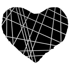 Black And White Simple Design Large 19  Premium Heart Shape Cushions by Valentinaart