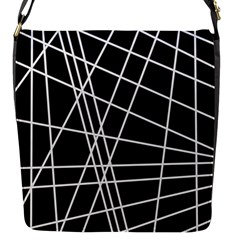 Black And White Simple Design Flap Messenger Bag (s)